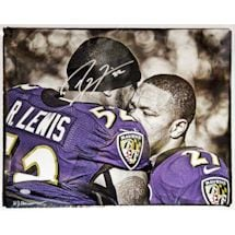 Ray Lewis Signed Hugging Ray Rice B/W with Color Accents Signed 16x20 Hauser Photo (Signed by William Hauser)