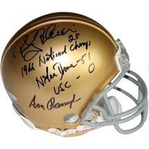"Rocky Bleier/Ara Parseghian Dual Signed Notre Dame Mini Helmet w/"" 1966 Natl Champs Notre Dame 51 -USC 0"" Insc. by Rocky"