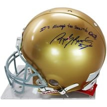 "Rudy Ruettiger Signed Authentic Notre Dame Full Size Helmet w/ ""It's Always Too Soon to Quit"" insc"