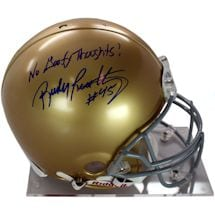 "Rudy Ruettiger Signed Authentic Notre Dame Full Size Helmet w/ ""No Goofy Thoughts"" insc"