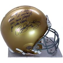 "Rudy Ruettiger Signed Authentic Notre Dame Full Size Helmet w/ ""What If I Didn't Dream, I would Have Never Played For No"