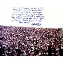 "Rudy Ruettiger Signed Carried off the Field 16x20 Photo w/ "" Long 5 Foot Nothing""Insc."
