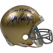 "Rudy Ruettiger Signed Notre Dame Replica Mini Helmet w/ ""It Took 27 Years to Play 27 Seconds!"" Insc"