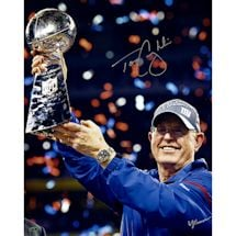Tom Coughlin Holding Lombardi Trophy Signed  16x20 photo (Signed By William Hauser)