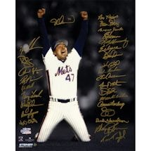 1986 New York Mets Team Signed Last Out Celebration 16x20 Photo (28 Signatures)