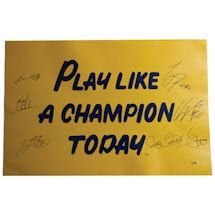 1988 Notre Dame 6 Signature 20x30 Play Like A Champion Poster (Signed  by Lou Holtz/Ricky Watters/Rocket Ismail/Tony Ric