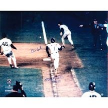 "Bill Buckner/Mookie Wilson Dual Signed Game 6 1986 World Series Metallic 16x20 Photo w/ "" 10/25/86"" Insc by Wilson"