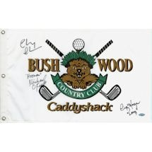"""Cindy Morgan/Michael Okeefe/Chevy Chase Triple Signed CaddyShack Golf Pin Flag w/ """"Lacey, Noonan""""Insc"""