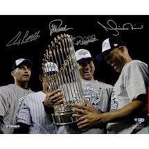 Derek Jeter/Mariano Rivera/Andy Pettitte/Jorge Posada Multi Signed Holding 2009 WS Trophy Horizontal 16x20 Photo (MLB Au