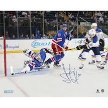 Henrik Lundqvist Signed New York Rangers Diving Stick Save 16x20 Photo