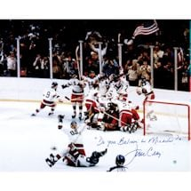 "Jim Craig 1980 USA Celebration 16x20 w/ ""Do You Believe in Miracles?"" Insc."