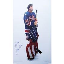 "Jim Craig Signed 20x30 USA Stars & Stripes Poster w/ ""Believe"" Insc."