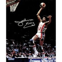 Julius Erving New York Nets Soars to Basket Signed 16x20 Photo