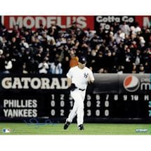 Mariano Rivera Signed  Yankees Home Jersey Run Onto The Field Horizontal 16x20 Photo ( Signed In Blue)