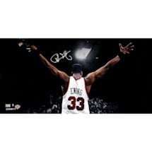Patrick Ewing Signed Arms Out Facing Crowd 16x32 Photo