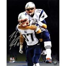"Rob Gronkowski Signed ""Carrying Tom Brady"" with Black Background 16x20 Photo"