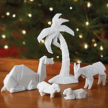 Origami Nativity Figures Glazed Porcelain - Camel, Donkey, Sheep, Palm Tree