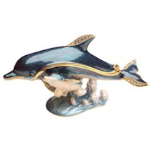 Crystal-Detailed Enamel Box -Dolphin
