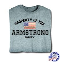 """Personalized Property of """"Your Name"""" Family US Flag Patriotic Shirt (Grey) - Made In America"""