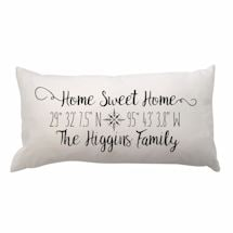 Personalized Home Sweet Home Lat/Long Pillow