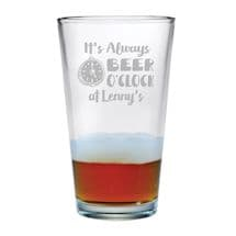 Personalized Beer O'Clock Single Pint Glass