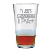 Personalized IPA Blood Type Single Pint Glass