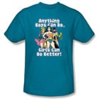 Anything Boys Can Do T-Shirt for Girls with Super-Heroine Image