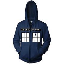 Doctor Who® Tardis Print Zip Front Hoodie Sweatshirt