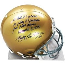 "Rudy Ruettiger Signed Authentic Notre Dame Full Size Helmet W/ ""It Took 27 Years For 27 Seconds For Notre Dame November"