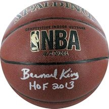 Bernard King I/O Basketball W/ Hof Insc (Signed In Silver) (Brown)